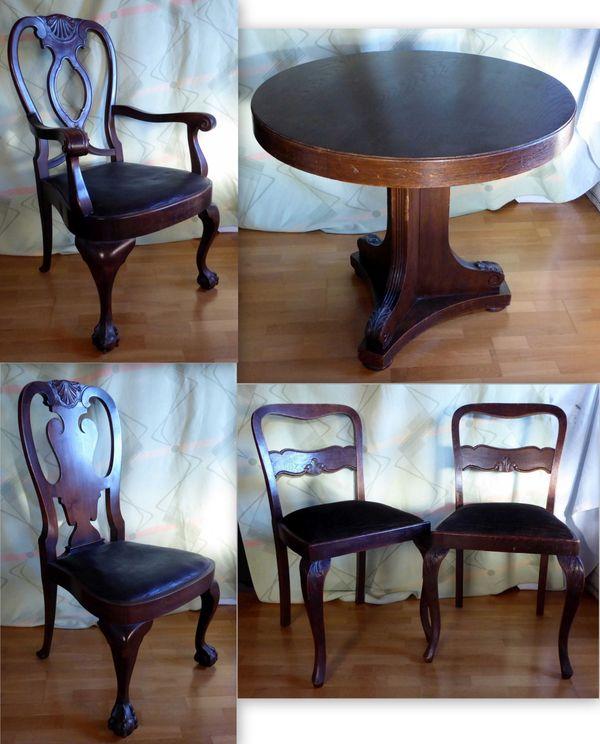 Runder Tisch Mit Vier Stühlen Tatzenfüße Ca 1920 In Oberhaching