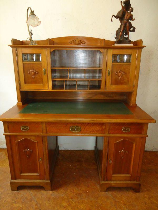 Schreibtisch Jugendstil Mit Aufsatz Ablagefacher Nussbaum
