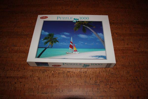 Puzzle 1000 Teile, Traumstrand - Wiesloch - Verkaufe ein 1000 Teile PuzzleMotiv: TraumstrandkomplettWir sind ein tierfreier Nichtraucherhaushalt.Privatverkauf. Keine Garantie. Keine Rücknahme - Wiesloch