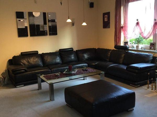 Neuwertige Schwarze Echtleder Couch In Frankfurt Polster Sessel