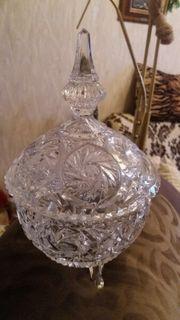 echte Bleikristall Schale mit Deckel