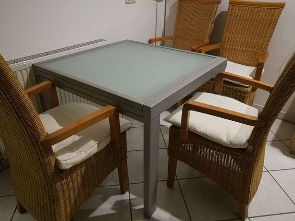 Kompl Esszimmer Ausziehbarer Glastisch Mit 4 Rattan Stuhlen In