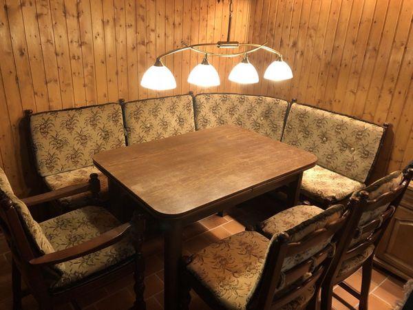 Eckbankgruppe Eiche Furnier Gebraucht 3 Stühle 1 Tisch In