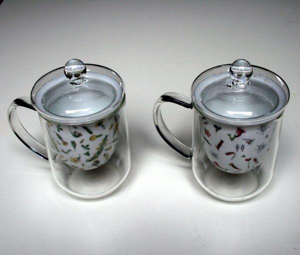 Teetassen Glas 2 glas teetassen mit deckel und sieb einsatz aus porzellan in