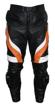 Motorradhose Rindsleder schwarz orange