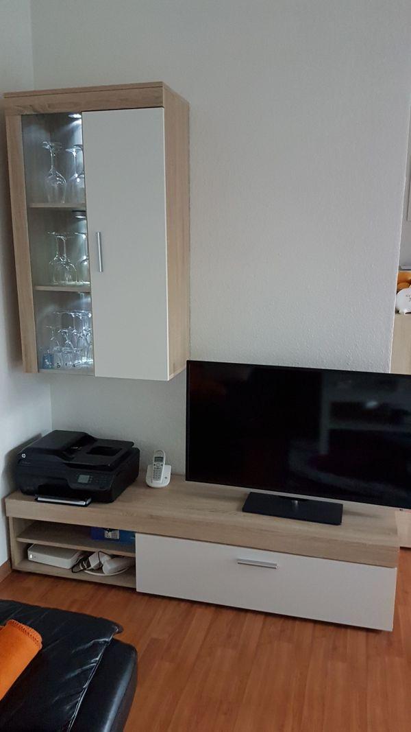 Wohnzimmer Wohnwand eiche-weiß in Böblingen - Wohnzimmerschränke ...