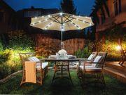 Sonnenschirm LED-Beleuchtung Ø266 cm grau-beige
