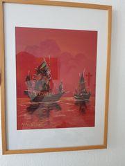 2 x Gemälde Kreide auf