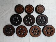 10 Stück Holzräder m Gummibereifung