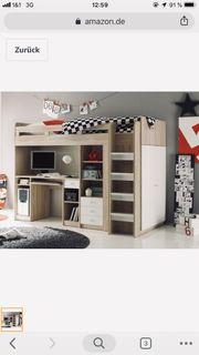 Kinderhochbett Hochbett mit Kleiderschrank und