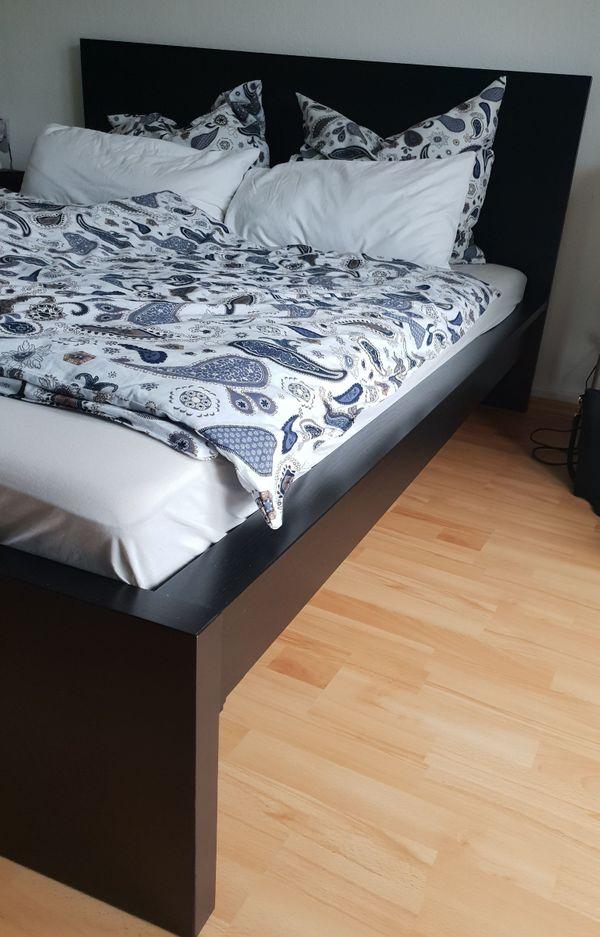 Ikea Malm Bett Schwarzbraun 160x200 Cm Mit 2x Leirsund