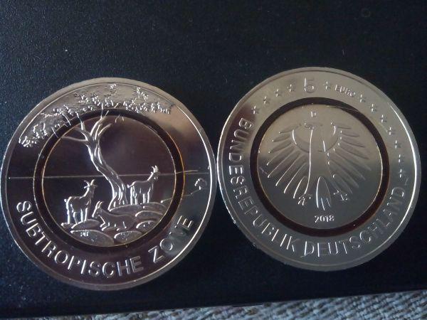 5 Eur Subtropische Zone Einzige Offizielle Deutsche 5 Euro Münze In