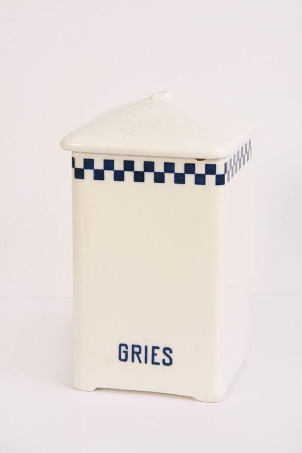 Alter Porzellan Vorrats-Behälter Gries blaues