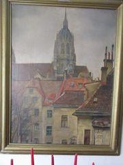 Müncchen sign Ölbild Paulskirche 1940