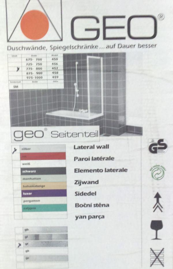 GEO Duschwand/ NEU und Originalverpackt - Leimen - GEO DuschwandDiese Duschwand (GEO Duschwand) wurde vor einigen Jahren gekauft, jedoch nie verbaut. Seither steht sie originalverpackt im Weg - verwendbar als Duschtassenseitenteil, Badewannenspritzschutz oder auch als Balkonsichtschutz oder Windf - Leimen