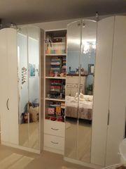 Kleiderschrank 2-teilig weiß mit Spiegeln