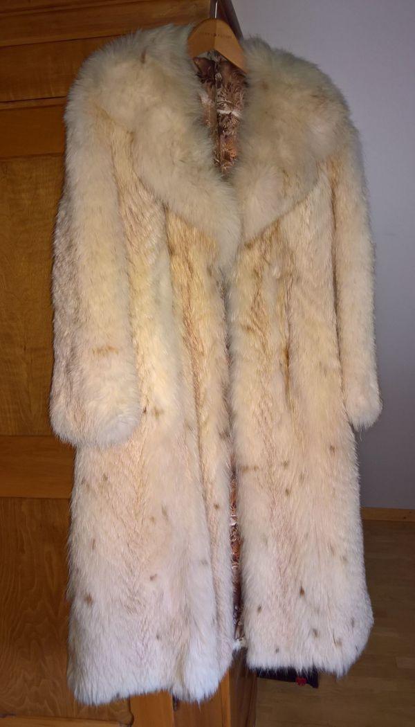 Fuchspelz Damen Mantel Hell Beige Mit Kragen Gr 36 38 Ein Echter