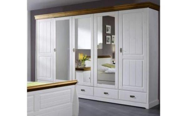 wunderschöner, Schlafzimmerschrank Kiefer massiv weiß gewachst in ...