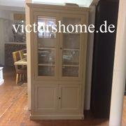 Landhausvitrine Holzvitrine sand Glasschrank 110