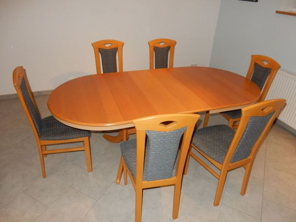 Esstisch Ausziehbar Essgruppe Mit 6 Stuhlen In Buche Massiv