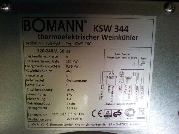 Bomann Kühlschrank Schwarz : Wein klimaschrank von bomann ksw farbe schwarz in gerabronn