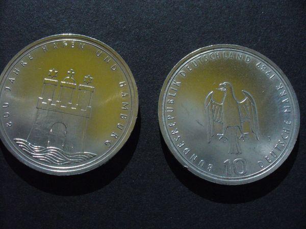 Silbermünze 10 Mark Münze 800 Jahre Hamburger Hafen 3 Stück