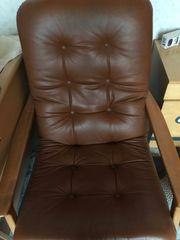 Leder Sessel 2 Hocker 70