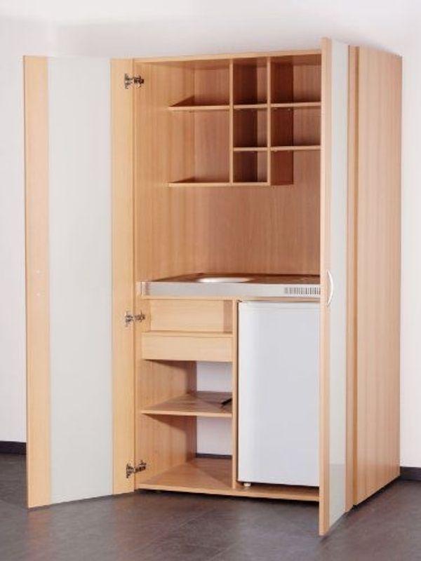Mebasa Schrank-Küche Single Küche Büroküche Küche 100 cm Buche Dekor ...