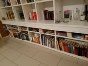 Wohnwand Bibliothek Hochglanz weiß