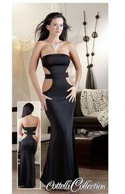 Damen Kleid lang trägerlos schwarz