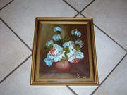 Ölgemälde Blumen, handsigniert